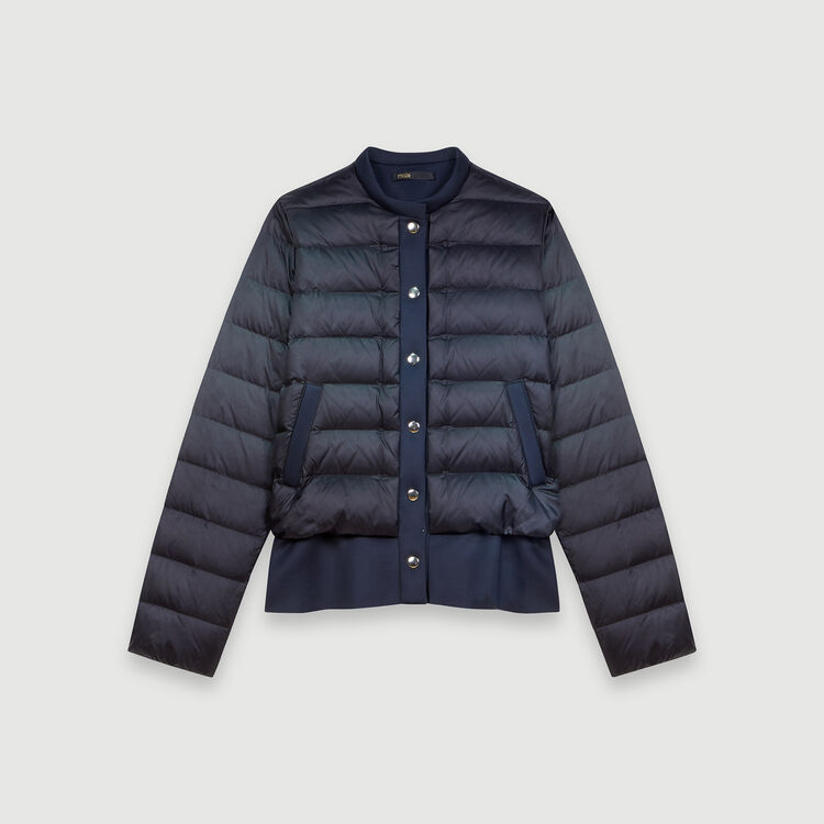 Light puffer coat wih Neoprene trim : Winter collection color Night