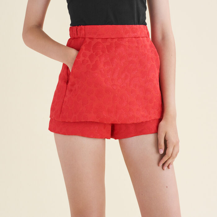 Jacquard shorts with leopard motifs : Skirts & Shorts color Jacquard