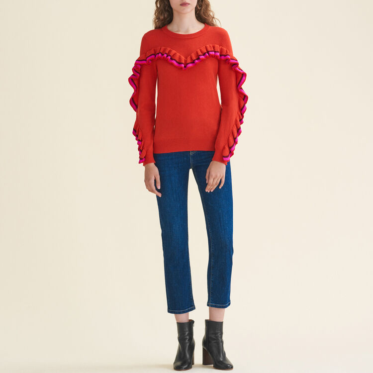 Frilled jumper in wool and cashmere : Knitwear color Orange