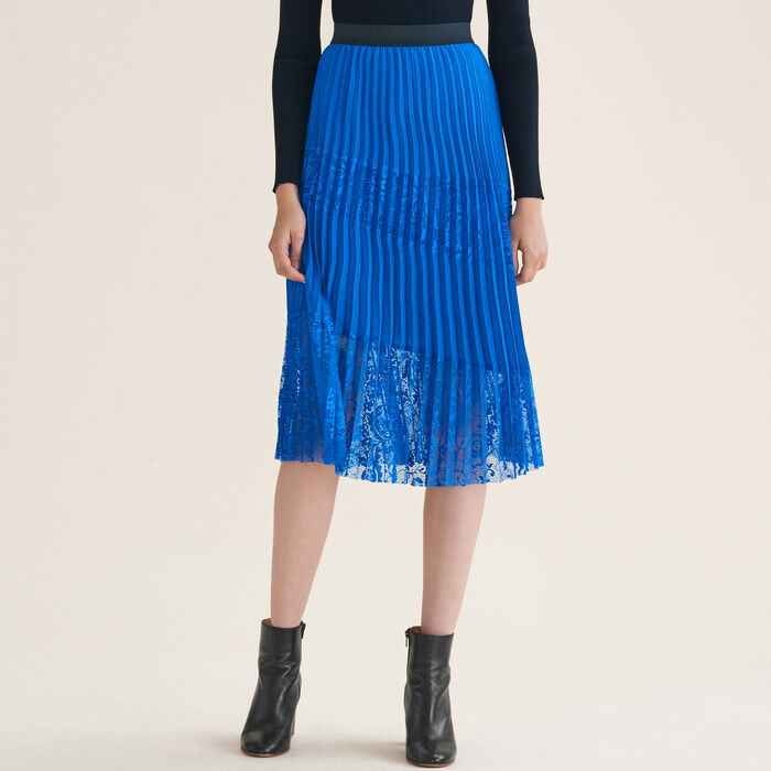 Pleated skirt with lace : Skirts & Shorts color Blue