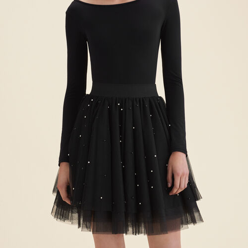 Short tulle skirt with beads : Skirts & Shorts color Black 210
