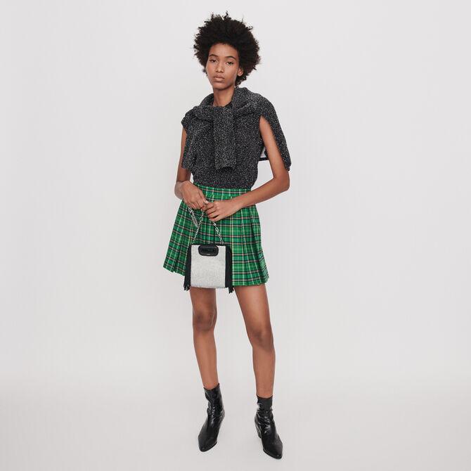Pleated plaid trompe-l'oeil shorts - staff private sale 20 - MAJE