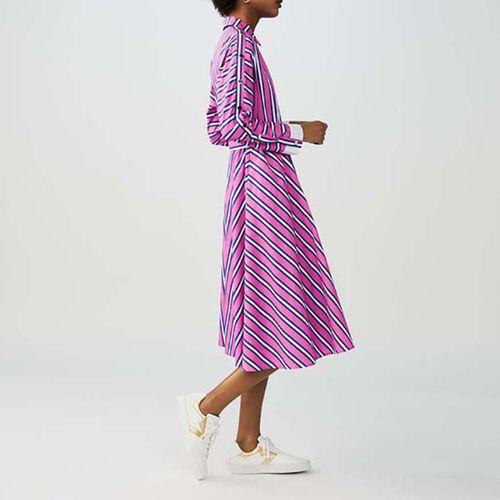 Long belted dress : Twisted stripes color Stripe