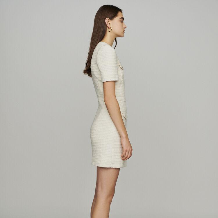 Tweed style straight dress : Dresses color Ecru
