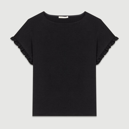 Oversized t-shirt with flounce sleeves : Tops color Black 210
