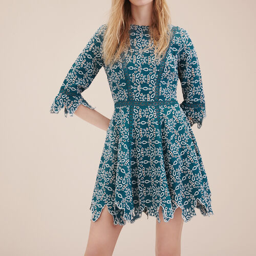Short guipure dress : Dresses color Blue