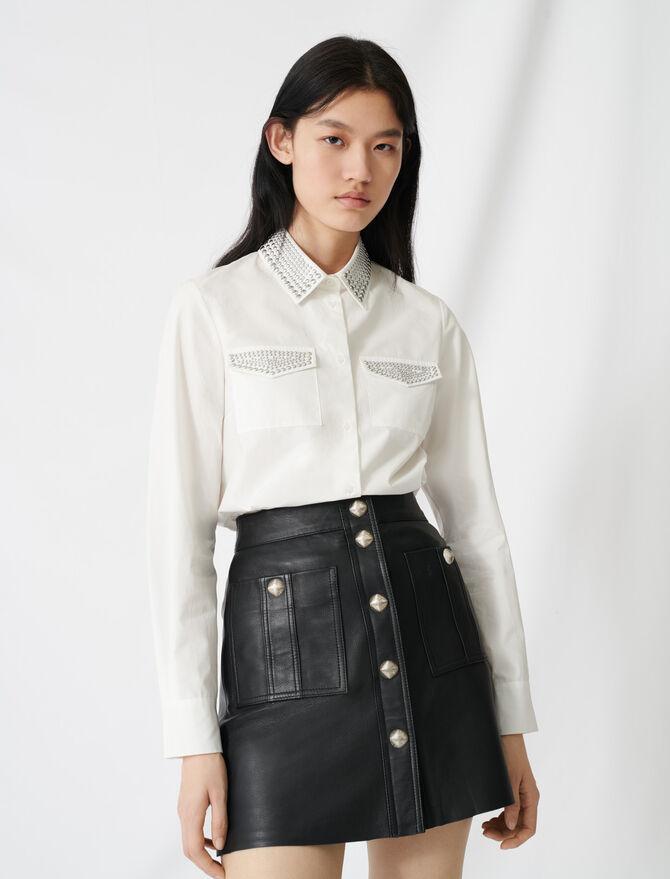 Studded poplin shirt - Tops & Shirts - MAJE
