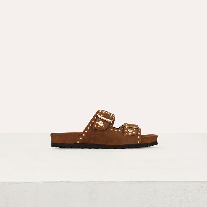 Leather sandals decorated with studs : Flat shoes color Camel