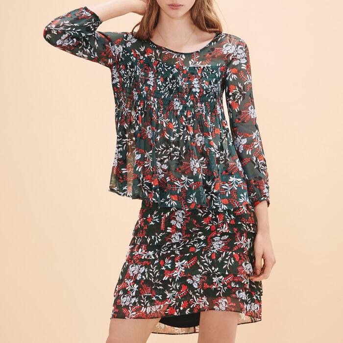Short asymmetrical printed skirt -  - MAJE