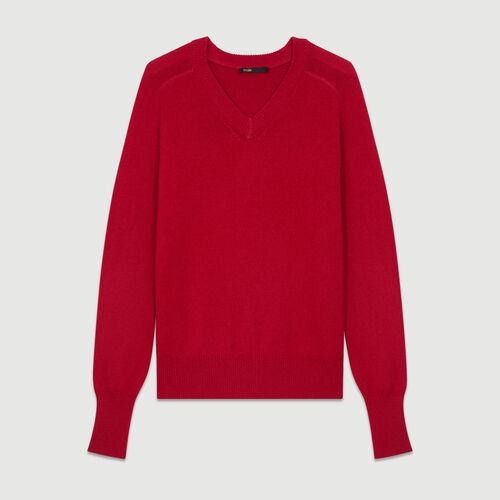 Oversized wool-cashmere sweater : Knitwear color Raspberry