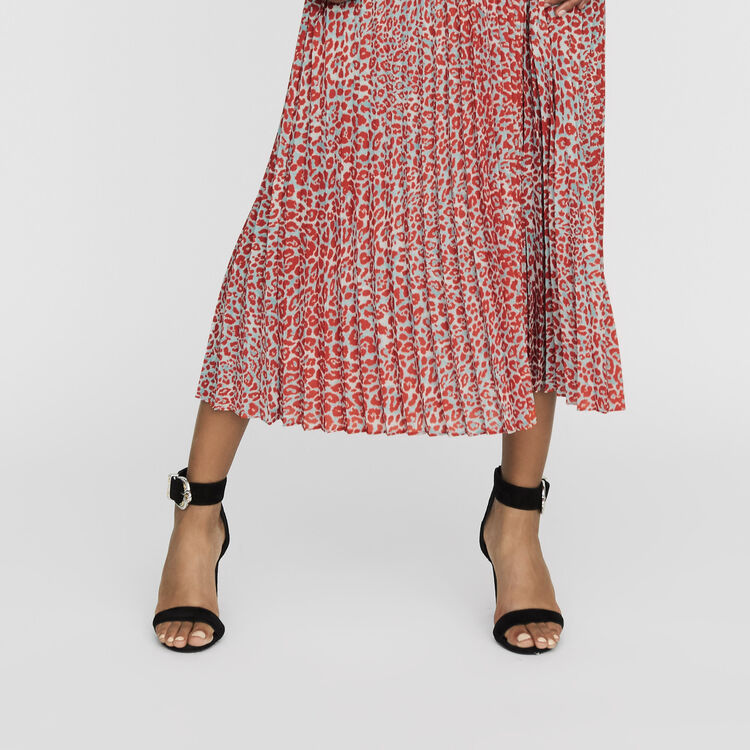 Long pleated dress in leopard print : Dresses color PRINTED
