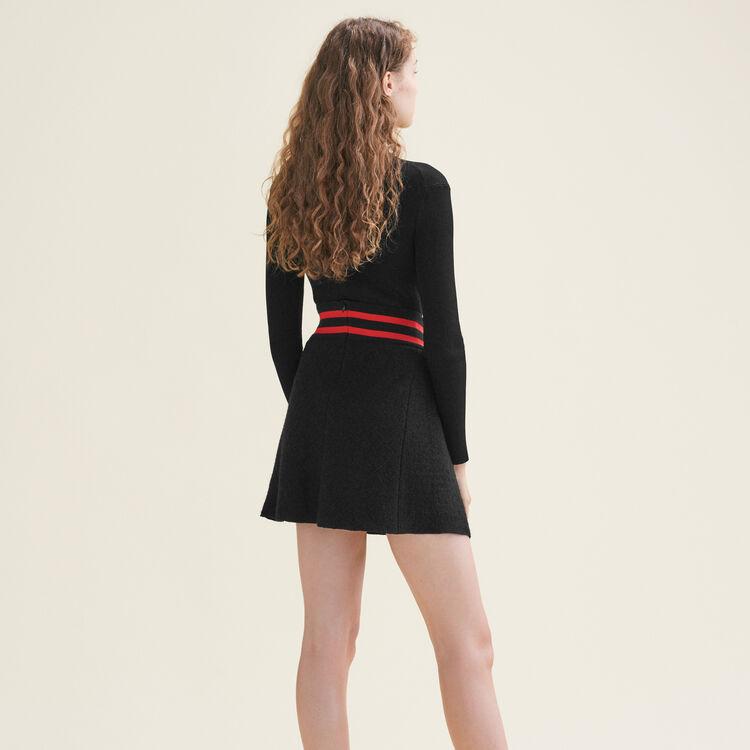 Asymmetric tweed skirt : See all color Black 210