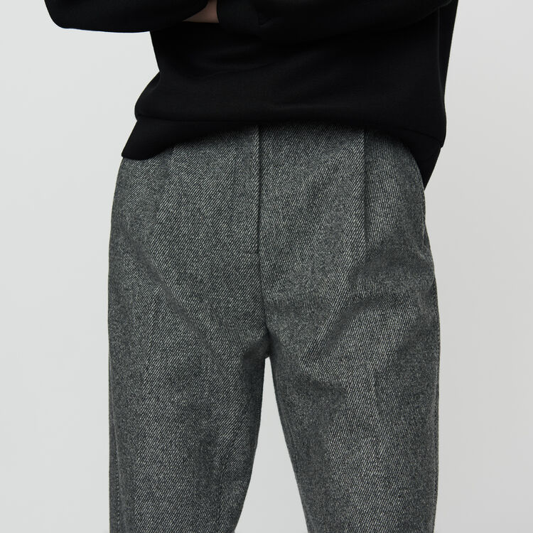 Wool-blend twill pants : Trousers color Grey