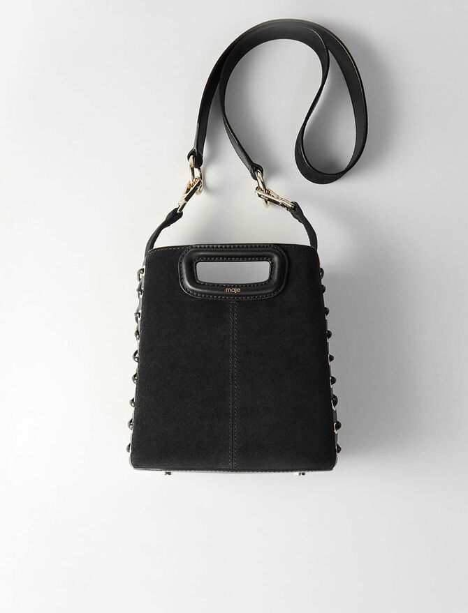 Lace-up suede M bucket bag -  - MAJE