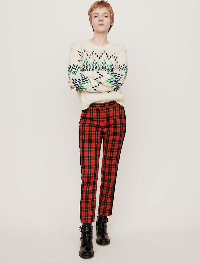Velvet piped plaid pants -  - MAJE