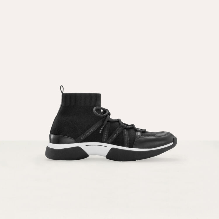 High-top sneakers in stretch fabric : Sneakers color Black 210