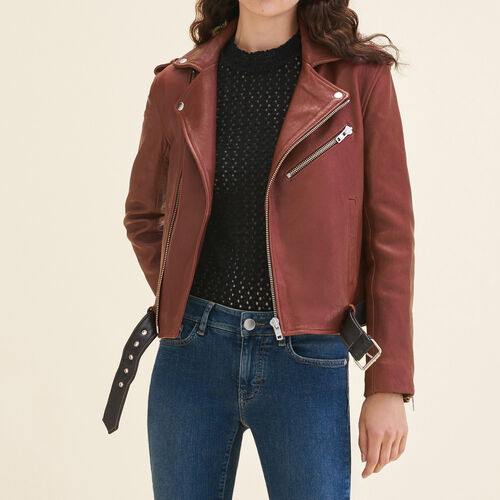 Leather jacket with contrasting belt - Jackets - MAJE