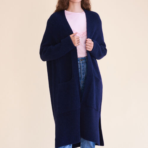 Long oversized cardigan : Knitwear color Caramel
