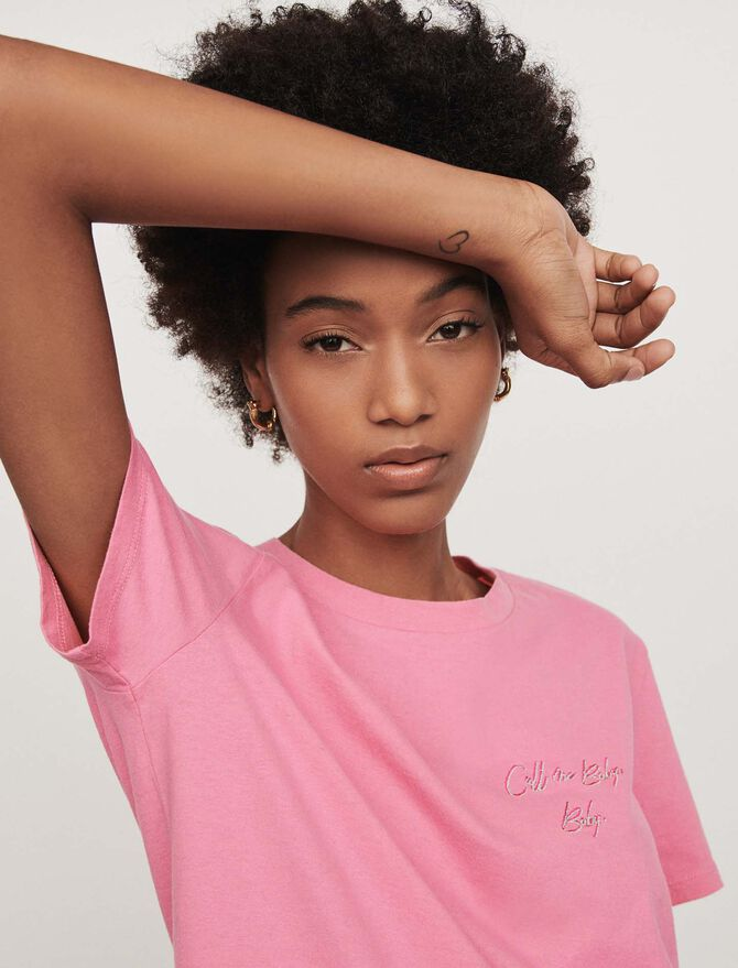 Embroidered short-sleeved t-shirt - top - MAJE