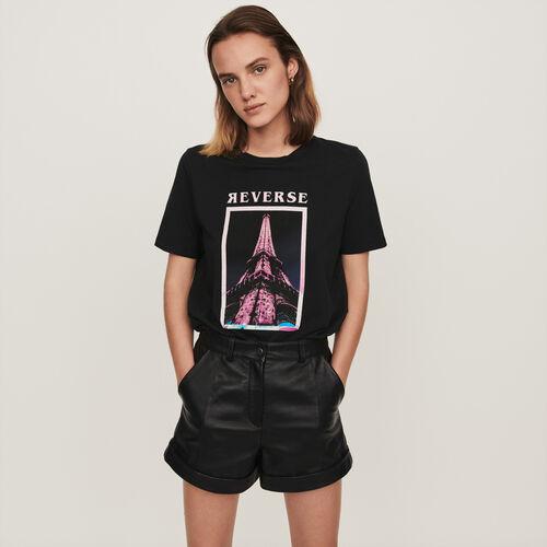 Silk screen printed t-shirt : T-Shirts color Black
