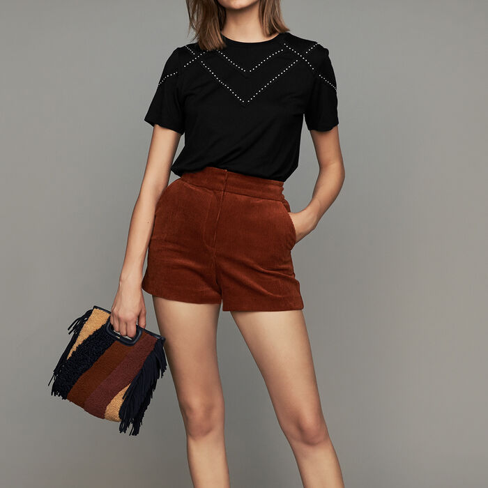 Corduroy shorts : Skirts & Shorts color Caramel