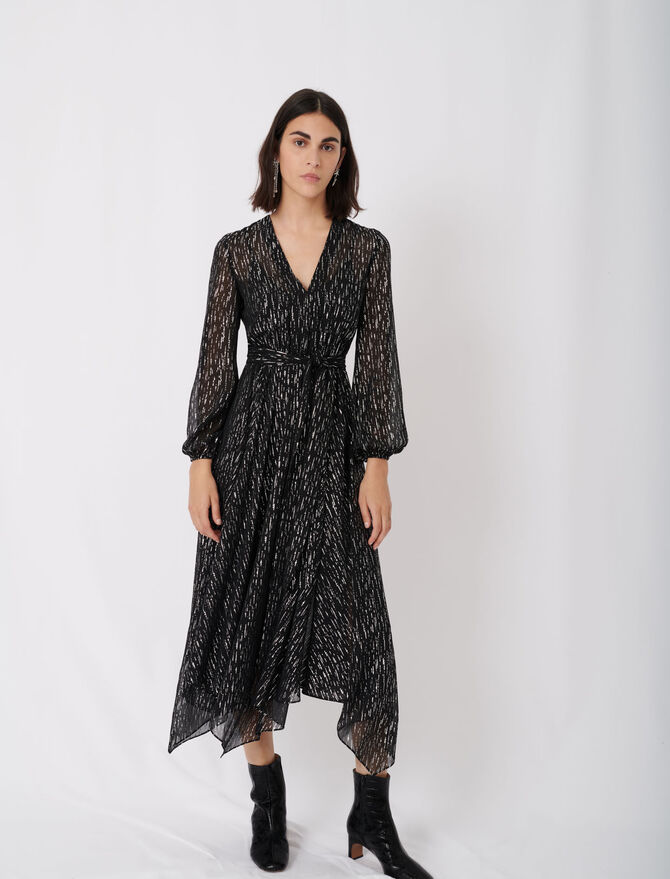 Belted muslin dress with scarf print - tout - MAJE