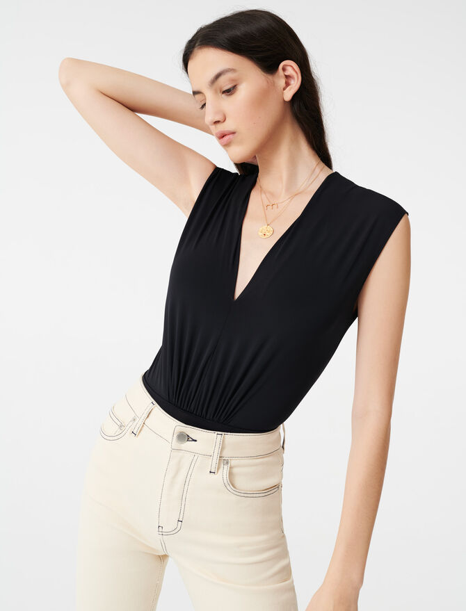 Draped stretchy bodysuit - T-Shirts - MAJE
