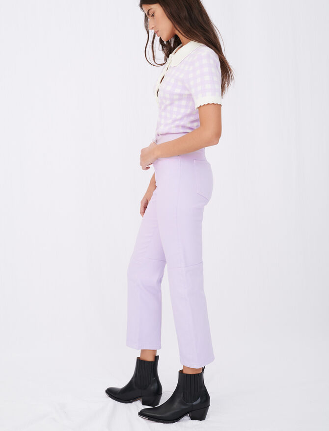 Coloured straight-cut jeans with cutouts - Trousers & Jeans - MAJE