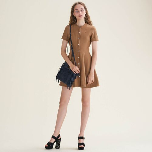 Buttoned skater dress : Dresses color Camel