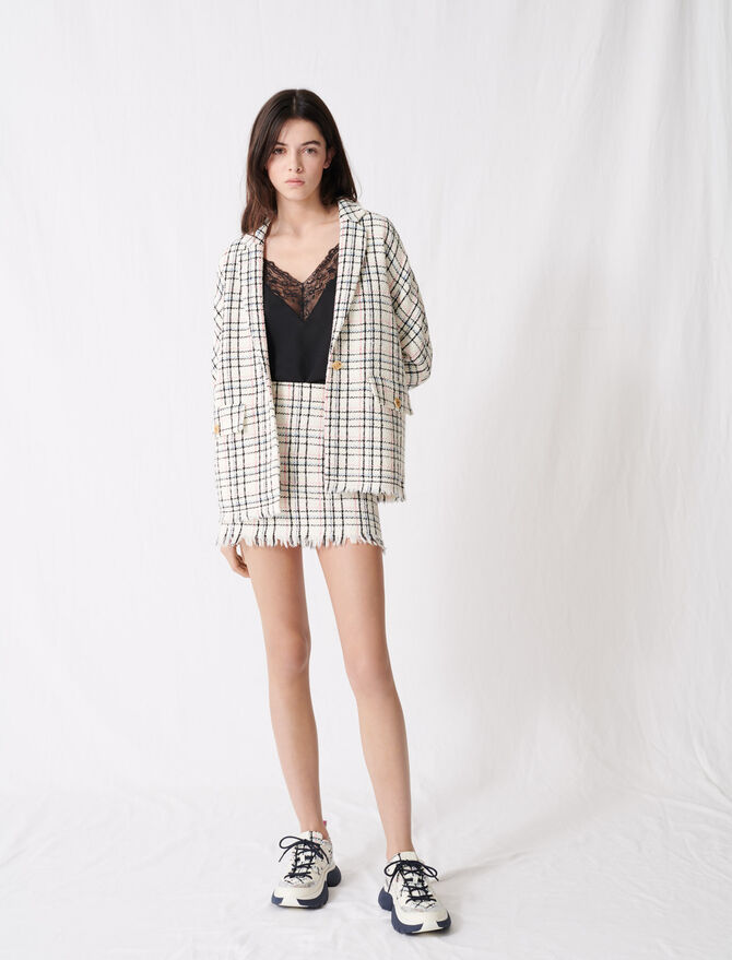 Checked tweed-style jacket - Blazers - MAJE