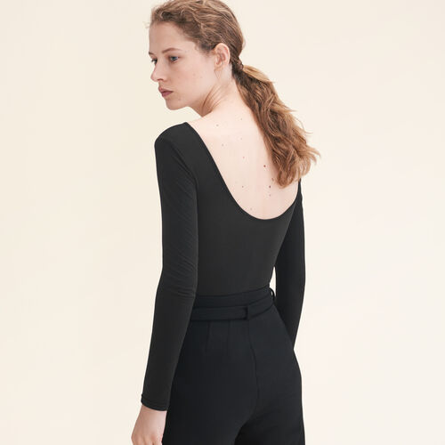 Long-sleeved jersey body : The Essentials color Black 210