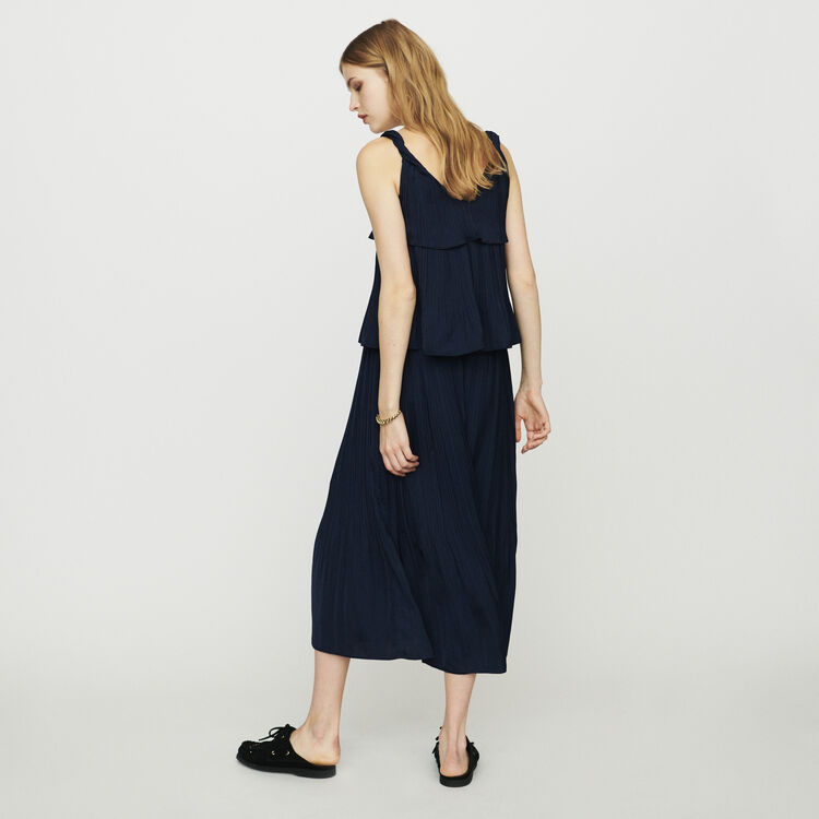 Long satin pleated dress : Dresses color Navy