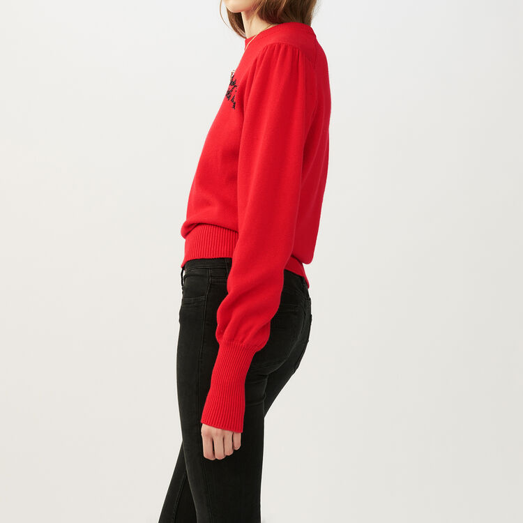 Embroidered knit sweater : Knitwear color ROUGE