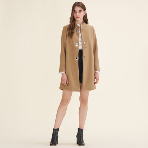 Coat with decorative fastenings : Coats color Camel