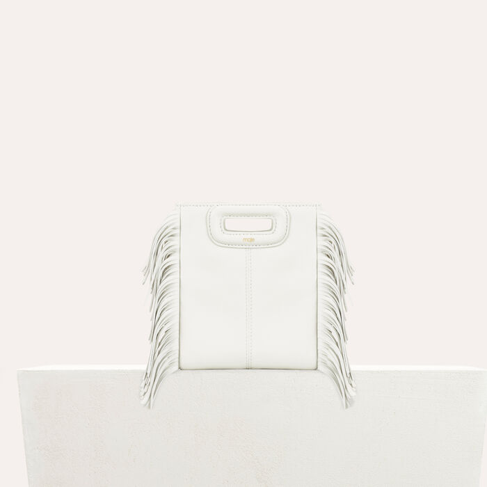 Fringed leather M minibag : M bags color White