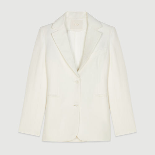 Tailor's jacket in mixed linen : Campaign SS19 color White