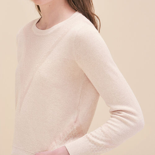 Fine knit jumper with lurex : Sweaters & Cardigans color Nude
