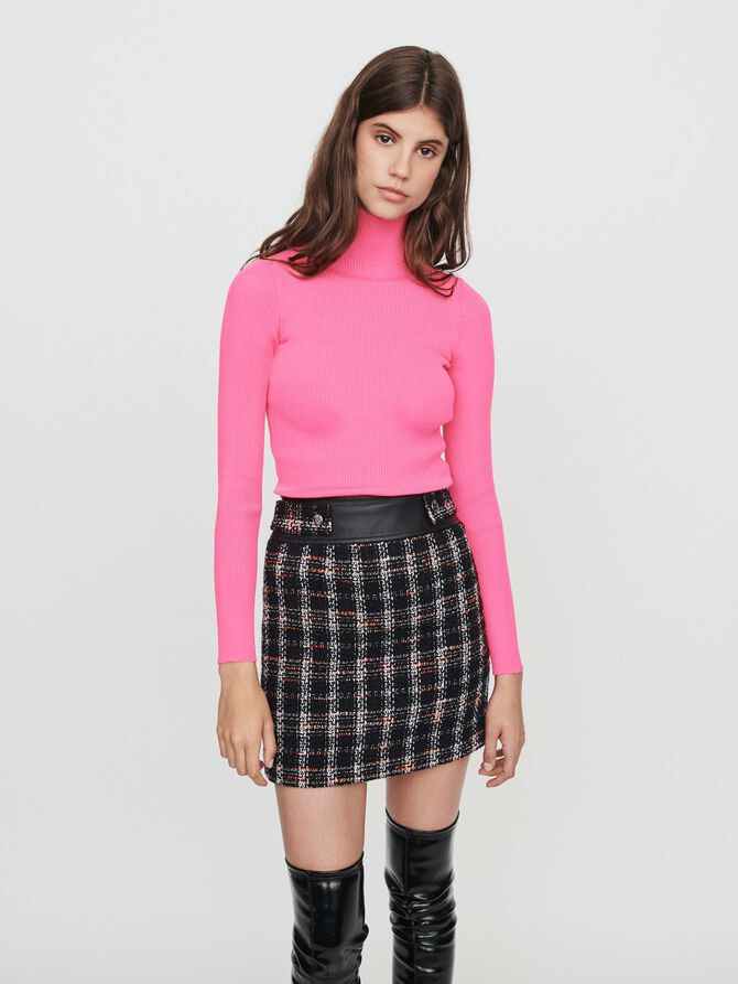 Light ribbed turtleneck sweater -  - MAJE