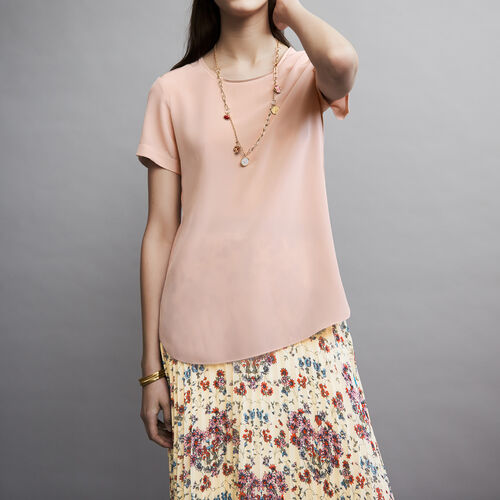 Silk top with intricate detailing : Tops color Pale Pink