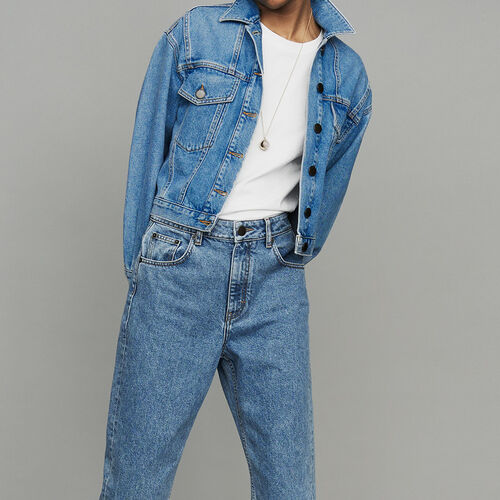 Cropped denim jacket : Le denim color Denim