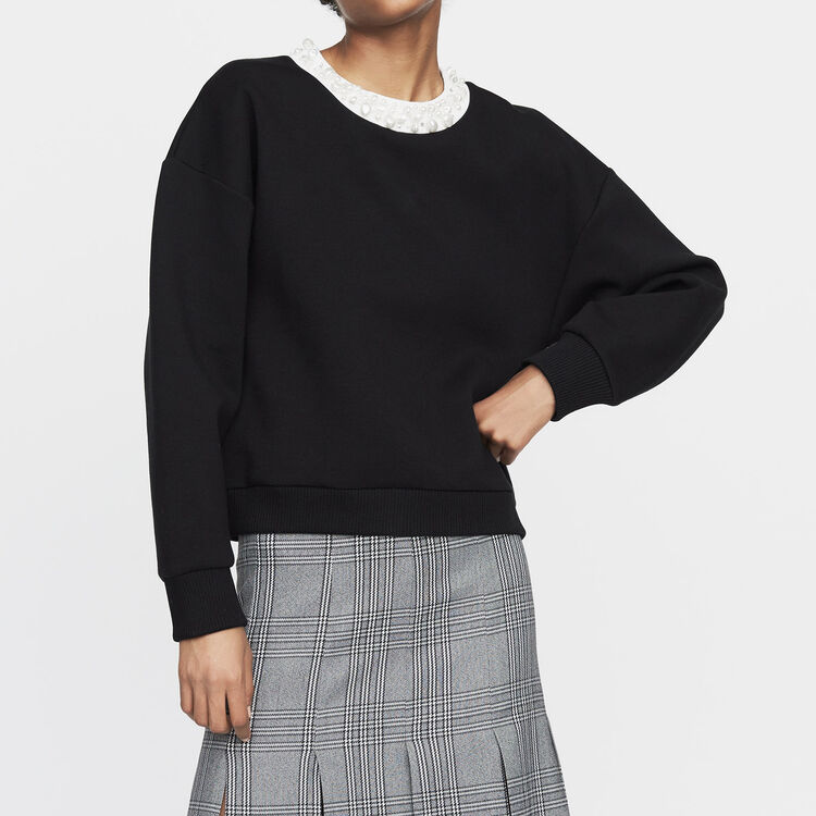 Fleece sweatshirt with pearls : New Collection color Black 210