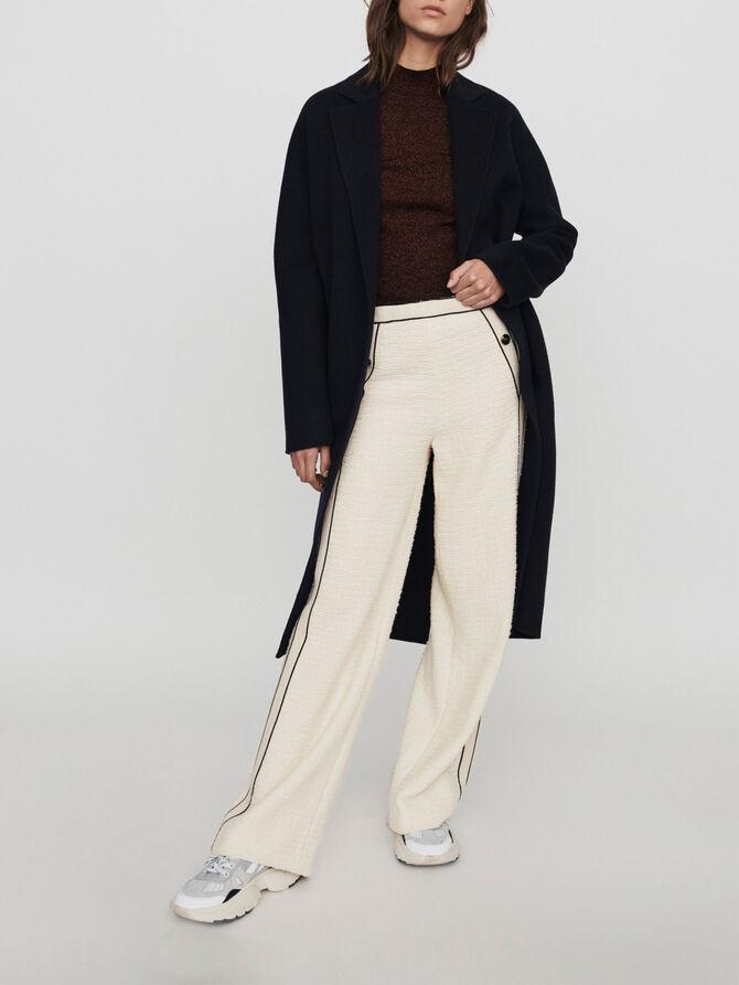 Tweed-style contrast wide-leg pants -  - MAJE
