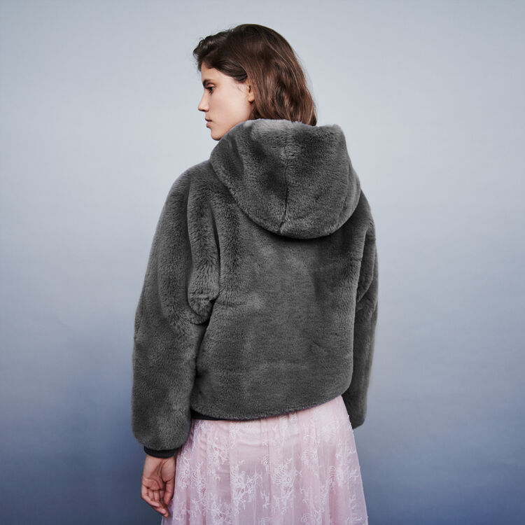 Hooded faux fur jacket : Coats & Jackets color Grey