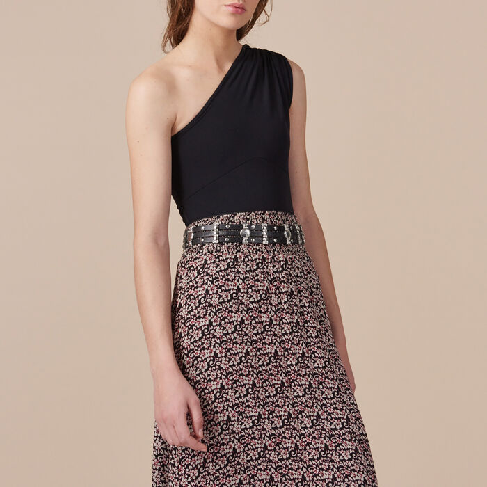 Long asymmetrical printed skirt -  - MAJE