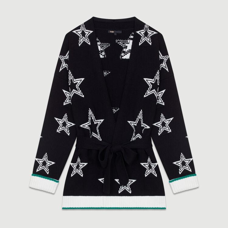 Oversize jacket in bicolor knit : Knitwear color Black 210