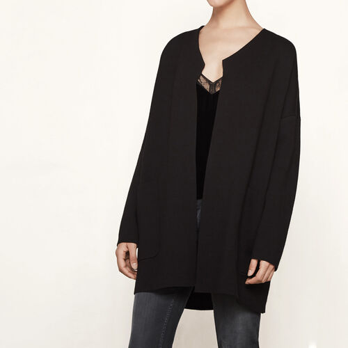 Oversized locknit cardigan : Sweaters & Cardigans color Black 210