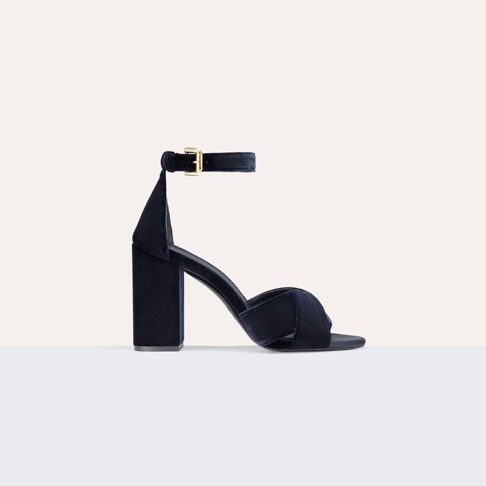 Heeled suede calfskin sandals : Shoes color NIGHT BLUE