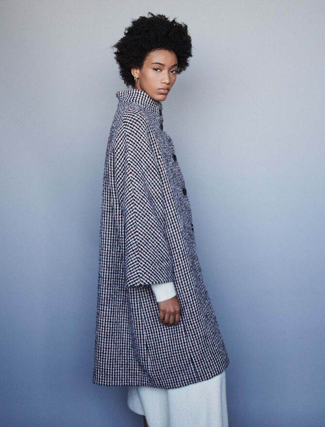 Long wool houndstooth coat - Jackets & Blazers - MAJE