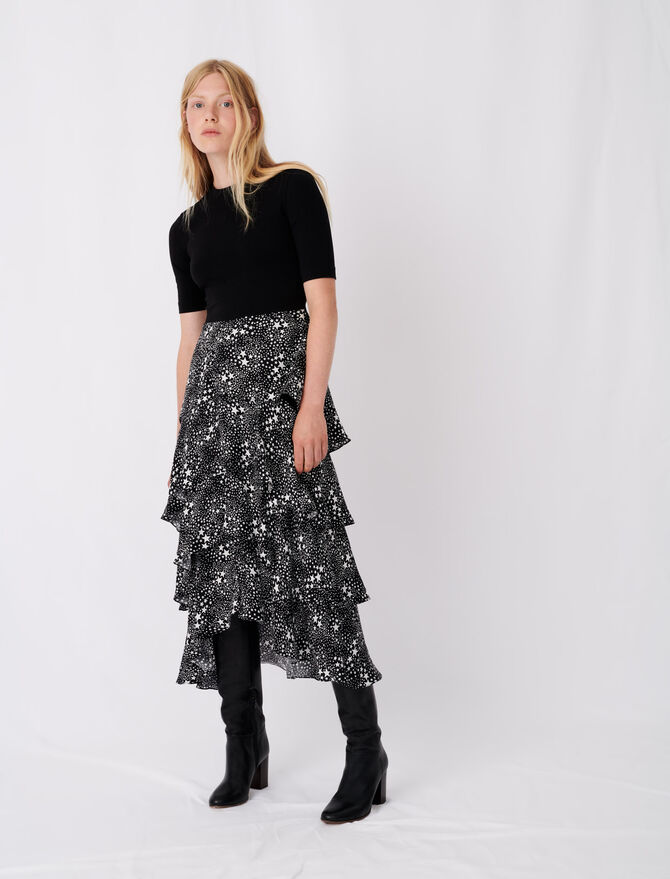 Trompe l'œil dress with scarf skirt - Dresses - MAJE