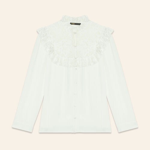 Blouse with lace insets on the chest : Tops color Ecru